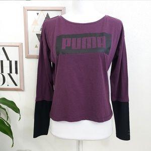 Puma Purple and Black Long Sleeve Graphic Top